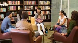 People sitting in a circle in the library
