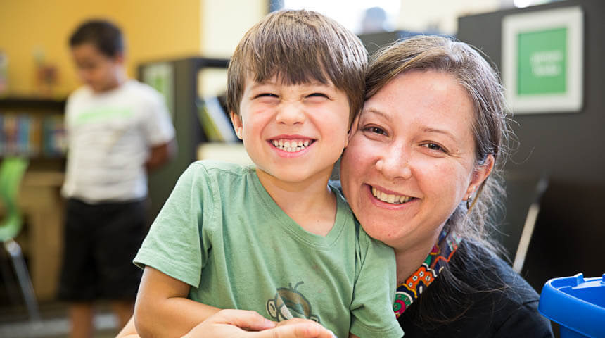 woman and boy smiling