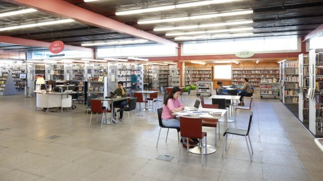 Interior adult reference and reading area of CLP-Squirrel Hill