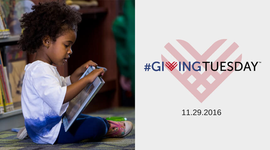 child reading in the library and the Giving Tuesday Logo