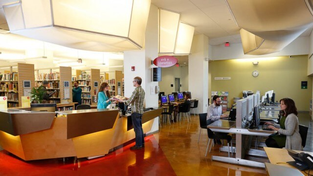 Interior adult reference area of CLP-Downtown prior to 2020 renovation