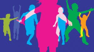 Colorful silhouettes of kids playing