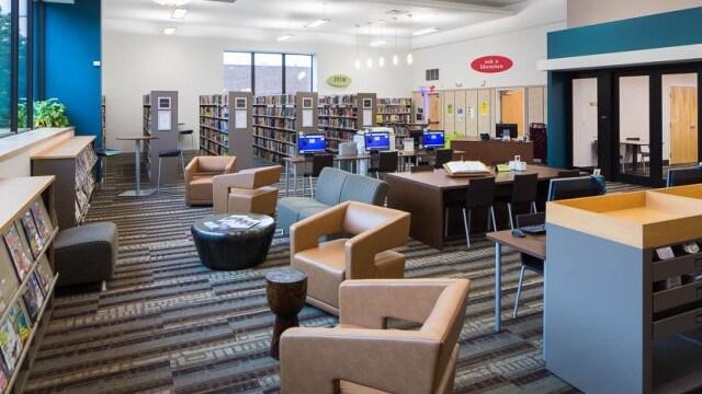 Interior adult reading area of CLP-Hazelwood