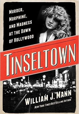 """Cover of Tinseltown book, photo of old Hollywood at night, and Margaret """"Gibby"""" Gibson"""
