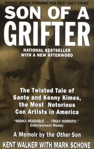 Cover of Son of a Grifter, mug shots of Kenny and Sante Kimes