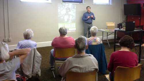 Todd DePastino presents some of his research to the West Pittsburgh History Club in May.