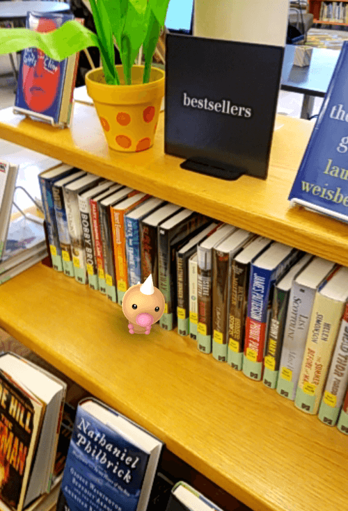 Photo of a weedle (pokemon) in the library