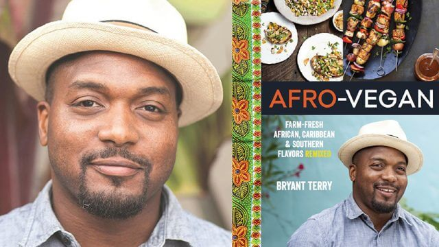 """Author Bryant Terry and his book cover for """"Afro-Vegan"""""""