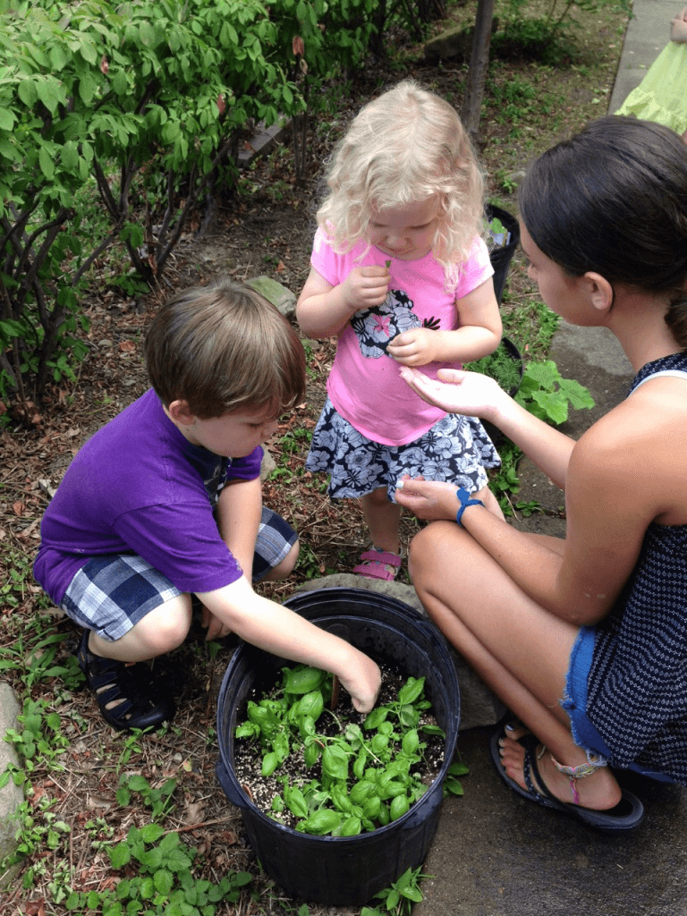 Children explore the garden during Homeschool Tuesdays at CLP - Main.