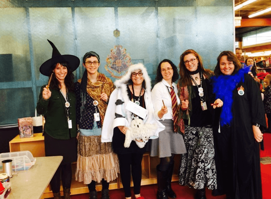 Staff at CLP- Squirrel Hill celebrate Harry Potter!