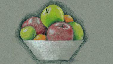 still drawing of fruit