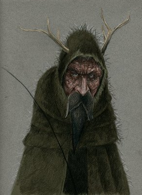 Drawing of Belsnickle, an old man with a bushy beard in a hooded cloak, holding small switches, with sticks on his hood that look like horns