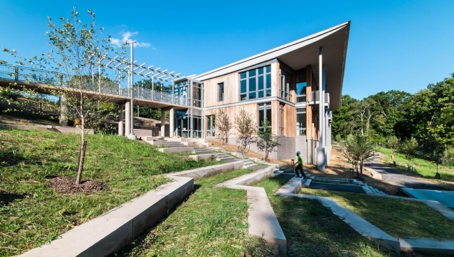 Frick Environmental Center and outdoor amphitheater. Photo credit: Jeremy Marshall