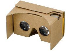 A Google cardboard virtual reality headset.