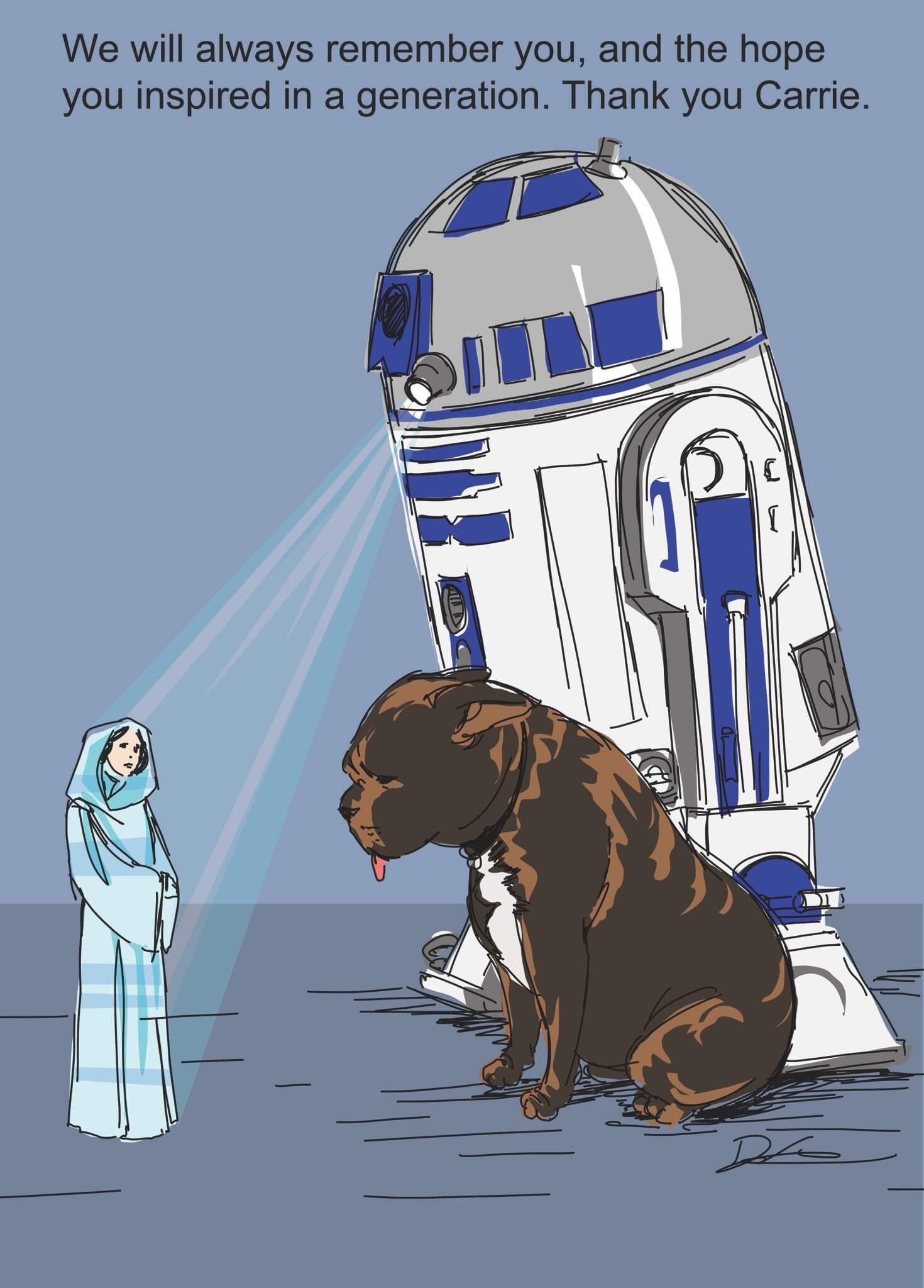 Picture of R2D2 showing a hologram of Princess Leia to Carrie Fisher's dog, Gary