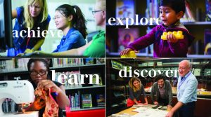 Four images in a square of people using the library, with the words