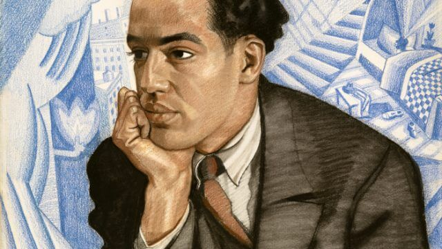 Pastel on illustration board depicting Langston Hughes, chin in hand as if in thought.