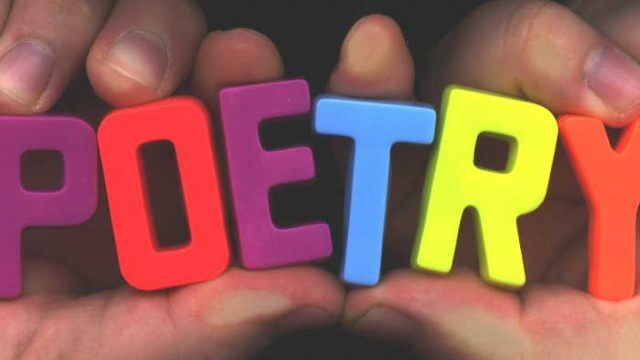 Poetry spelled out using magnetic letters