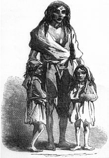 A depiction of Bridget O'Donnell during the potato famine (image from the Wikimedia Commons).