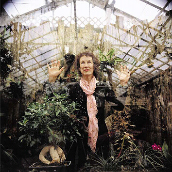 Margaret Atwood with plants