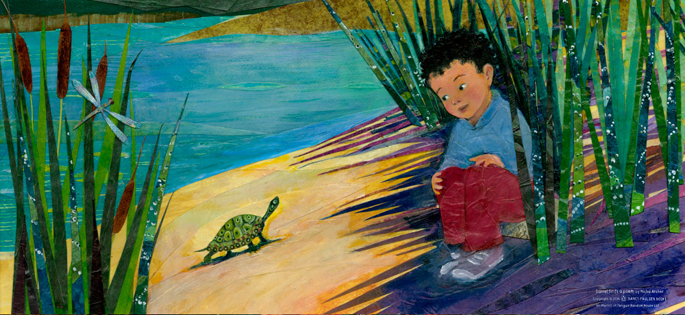 """Art from the book, """"Daniel Finds a Poem""""."""