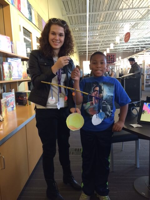 Reading Buddy, Julia M. helps her library buddy create a solar sytem for a school project!