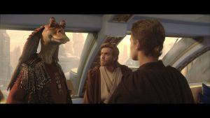 Jar Jar Binks, Obi-Wan Kenobi and a block of wood.