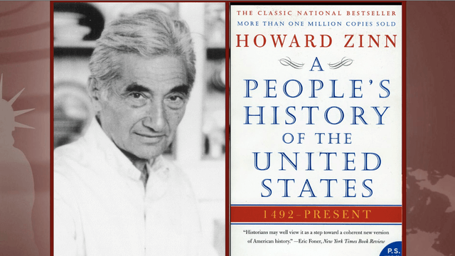 photo of Zinn, next to the cover of the book A People's History of the United States