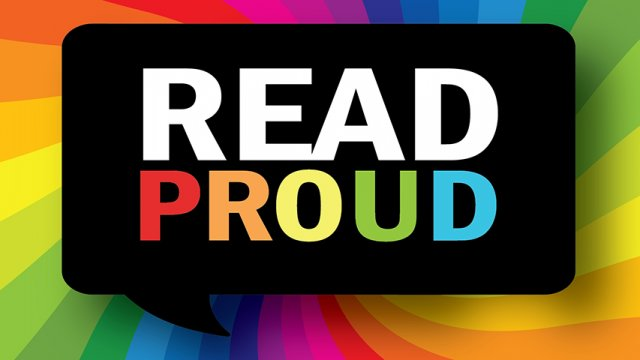 """""""Read Proud"""" thought bubble logo over rainbow background"""