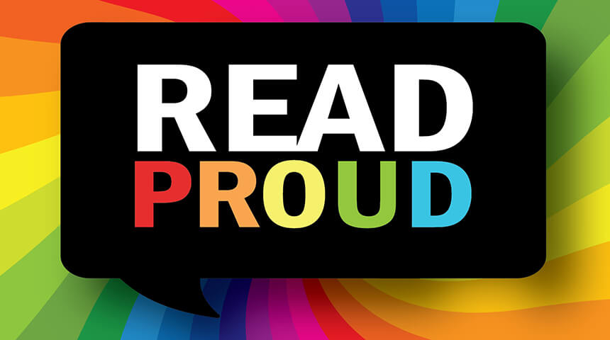 """Read Proud"" thought bubble logo over rainbow background"