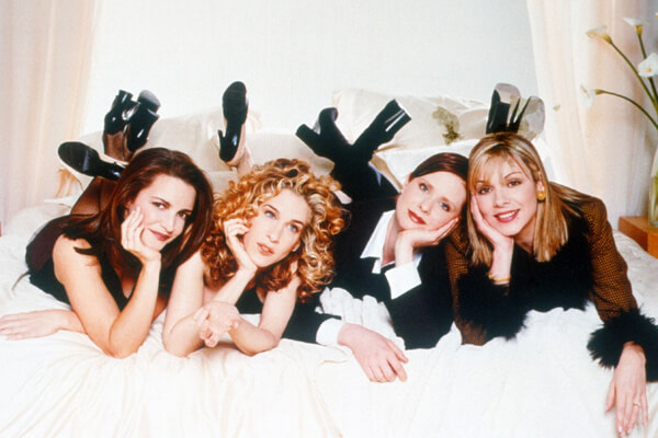 The cast of Sex and the City: Charlotte (Kristin Davis), Carrie (Sarah Jessica Parker), Miranda (Cynthia Nixon), and Samantha (Kim Cattrall)