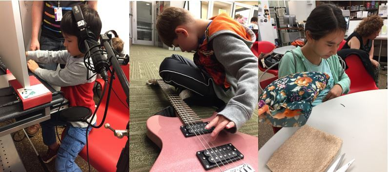 Three photographs arranged side-by-side. From left to right: a student records a song, a student strums a guitar sitting cross-legged on the floor, and another student holds up the pillow they've sewn