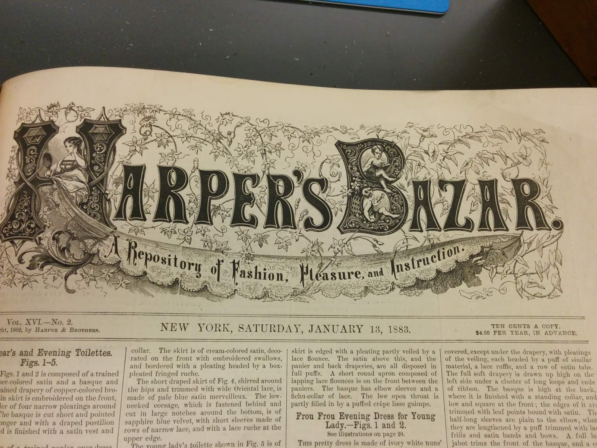 Cover page for eighteen eighty three copy of Harper's Bazar.