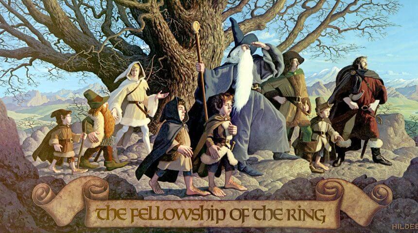 Illustration of the 9 members of the Fellowship, Frodo, Sam, Merry, Pippin, Legolas, Gimli, Boromir, Aragorn, and Gandalf