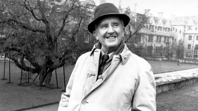 A photo of the author JRR Tolkien, smiling
