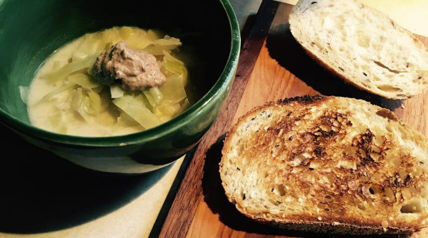 Toast and cabbage soup from Victuals cookbook.