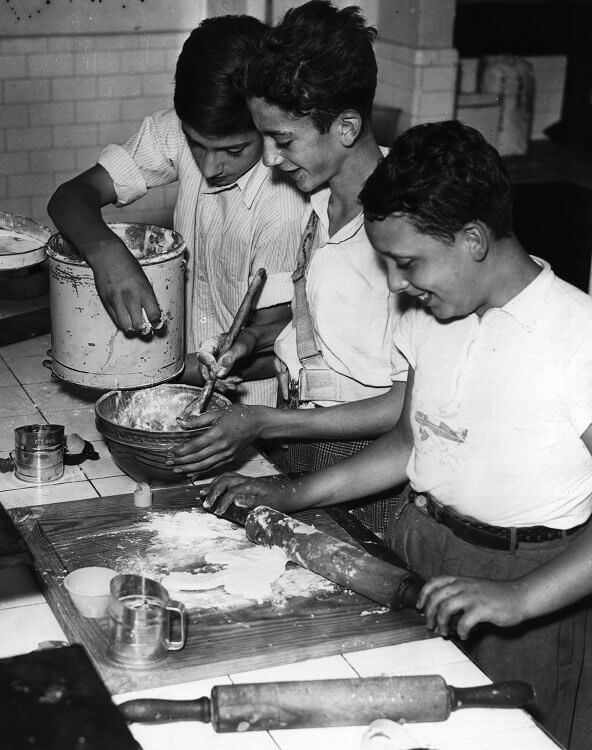 Students participating in a cooking class at school