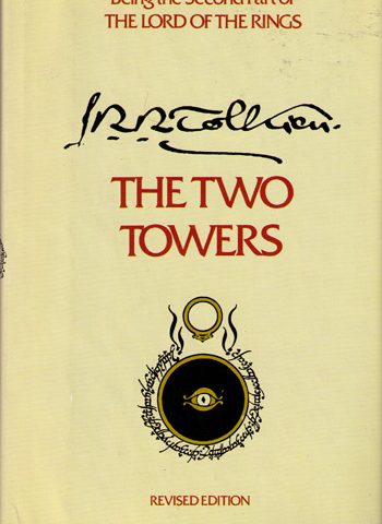Cover of The Two Towers featuring an illustration of a ring above an eye