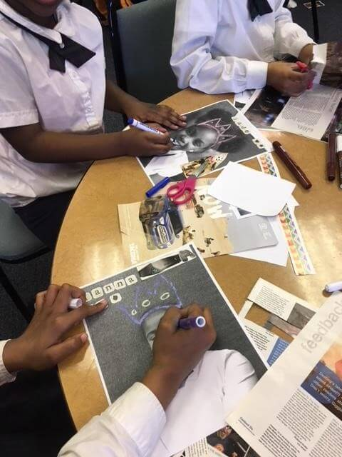 Creating collages at the Library.