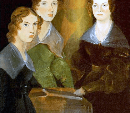 Painting by Branwell Brontë. A slight shadow remains where Branwell had painted himself into the portrait and then painted over himself between Emily and Charlotte.