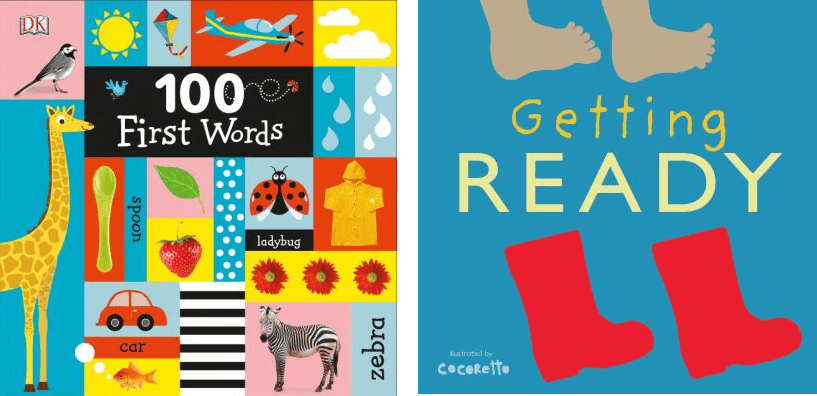 Covers of the books, 100 First Words and Getting Ready