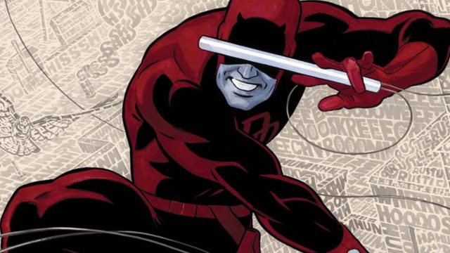 Illustration of Daredevil, jumping through the air.