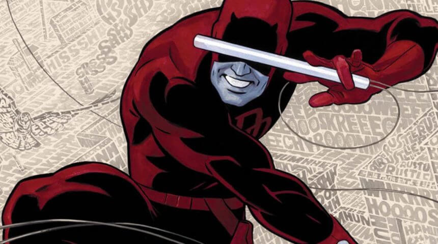 An illustration of Daredevil, jumping through the air