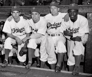 Photo of four Brooklyn Dodgers baseball players