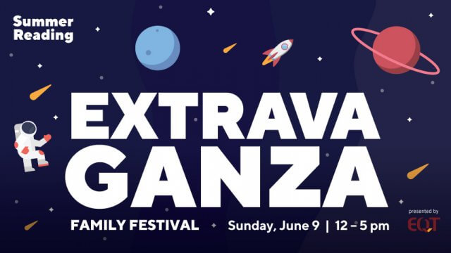 "Astronauts and planets on a dark blue background with ""Extravaganza"" in bold, white letters."