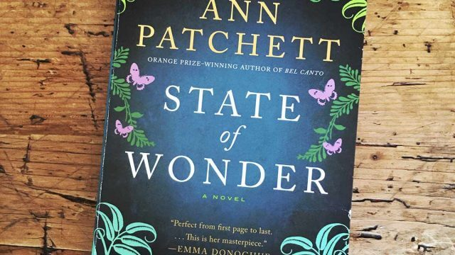 Cover of American edition of State of Wonder by Ann Patchett, on hardwood table.