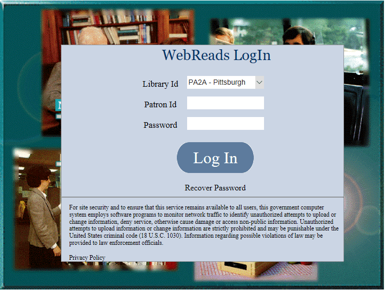 Image of the Login Screen for WebREADS