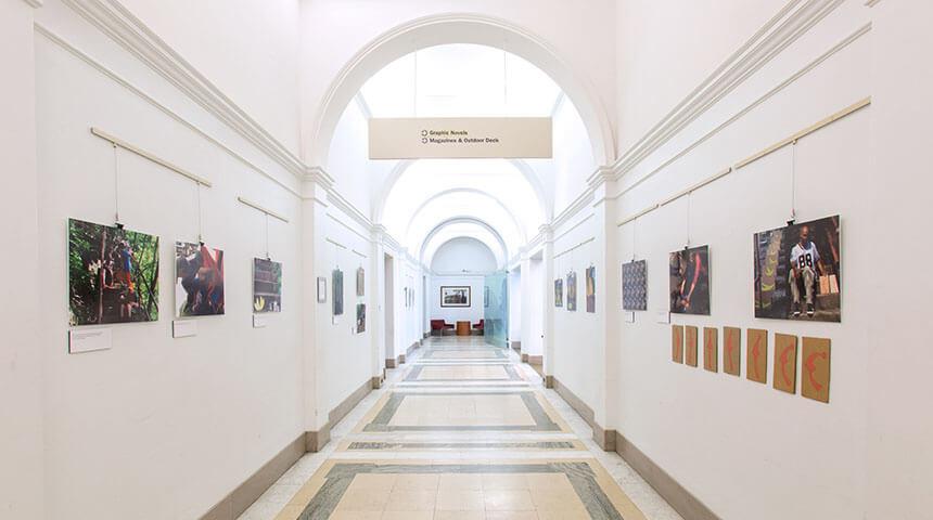 Long corridor view of the Gallery at Main.