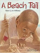 Book cover of A young child holds onto a stick in the sand at the beach