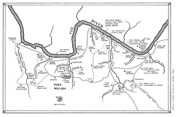 Hand-sketched map of Port William, Kentucky with Wendell Berry's fictional inhabitants